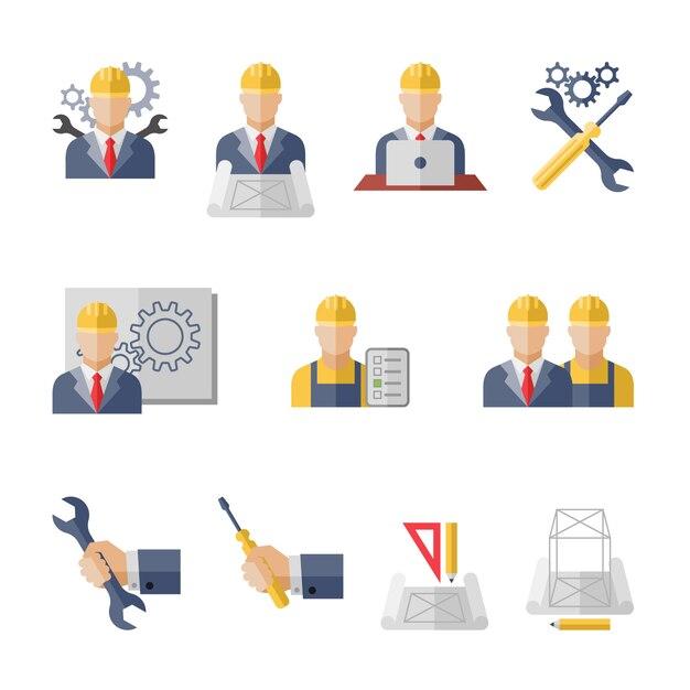 製造管理労働者の市民プロの機械科学工学概念フラットビジネスアバターセット Premiumベクター