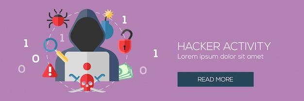 サイバー犯罪とハッカーの活動コンセプト Premiumベクター