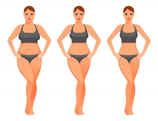 Иллюстрация красивая женщина до и после диеты Premium векторы