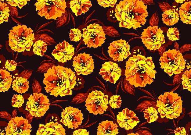 黄色の庭の花とのシームレスなパターン Premiumベクター