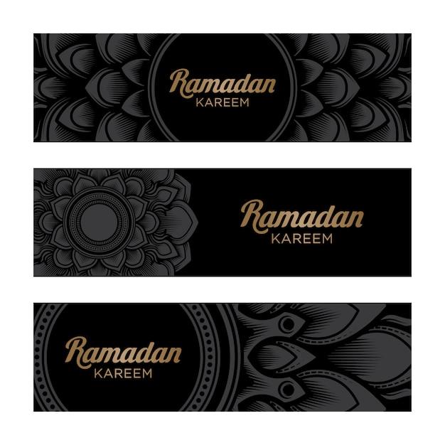 Рамадан карим горизонтальный баннер с орнаментом мандалы на черном фоне Premium векторы