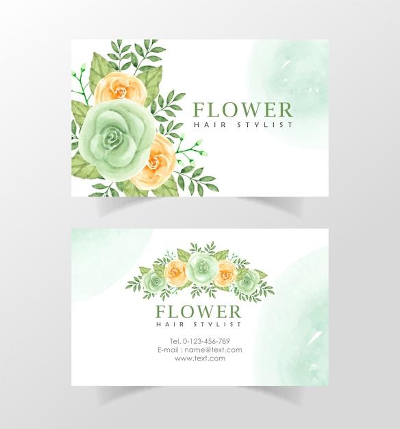 Красивая акварель цветок имя карты шаблон Premium векторы