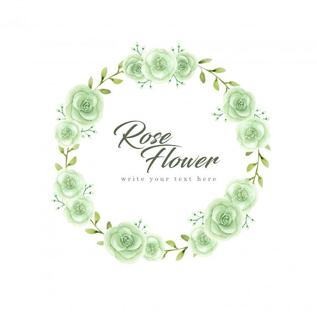 Акварель зеленая роза венок Premium векторы