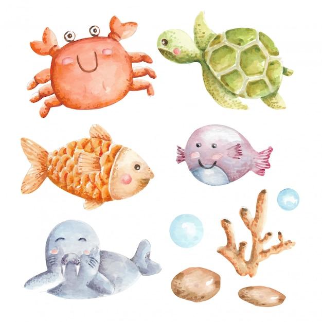 Подводный набор акварели животных Premium векторы