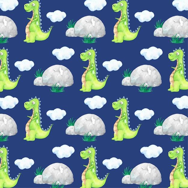 Мультфильм зеленый динозавр акварель Premium векторы
