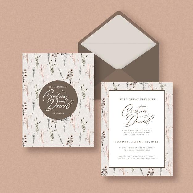 Приглашение на свадьбу с акварелью Premium векторы