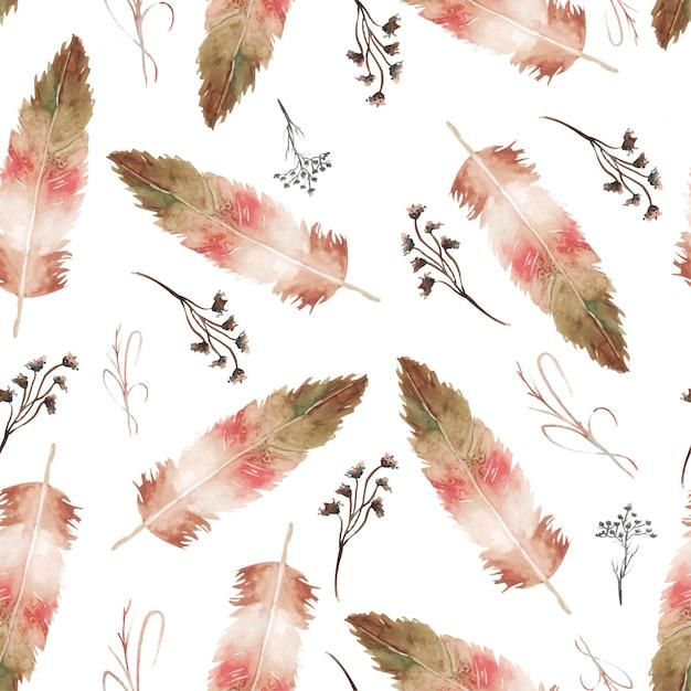Акварельные перья и цветочные бесшовные Premium векторы