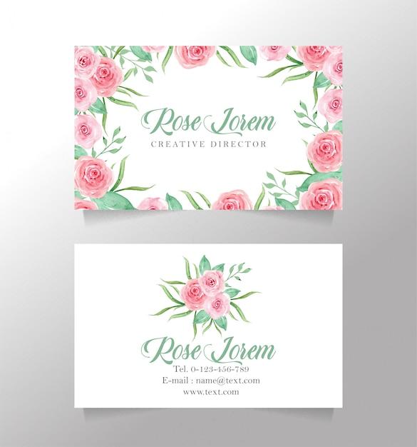 名刺白と花のテンプレート Premiumベクター