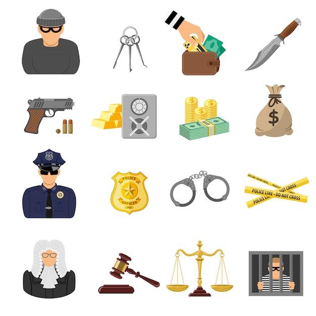 Преступление и наказание плоские иконки Premium векторы