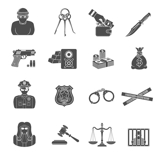Набор иконок преступности и наказания Premium векторы