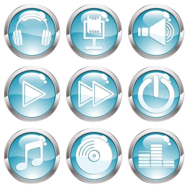 音楽光沢ボタンの設定 Premiumベクター