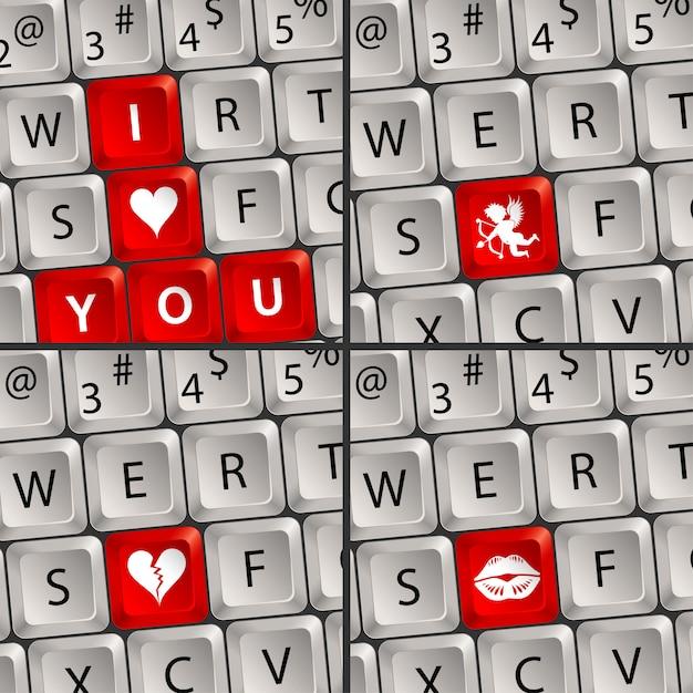 愛のアイコンとコンピューターのキーボード Premiumベクター