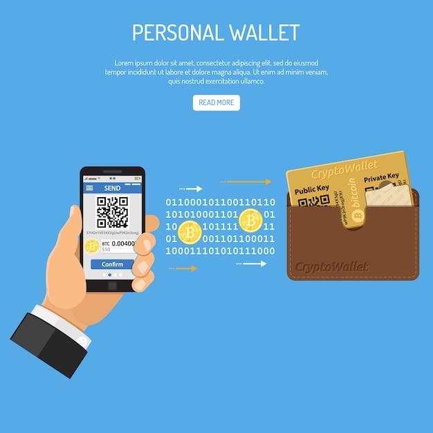 暗号通貨ビットコイン技術コンセプト Premiumベクター