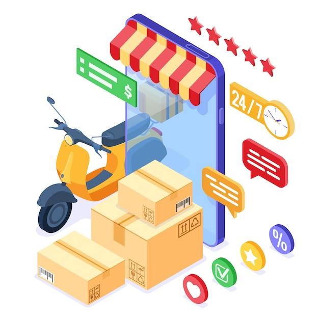 Онлайн доставка посылок Premium векторы