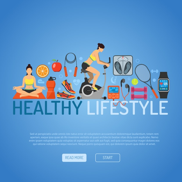 健康的な生活様式 Premiumベクター