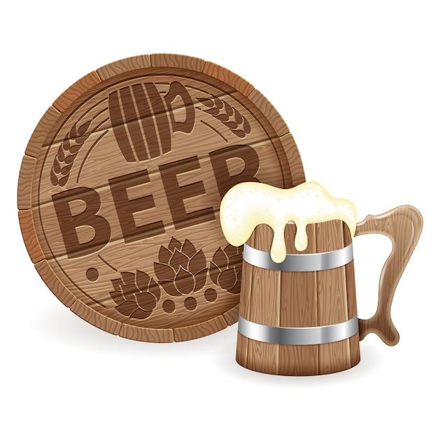 ビールの樽と木製マグカップ Premiumベクター
