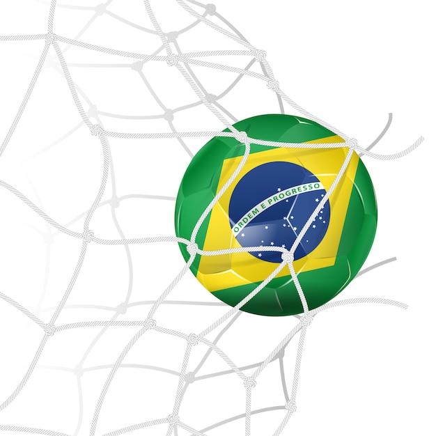 ネットでサッカーボール Premiumベクター
