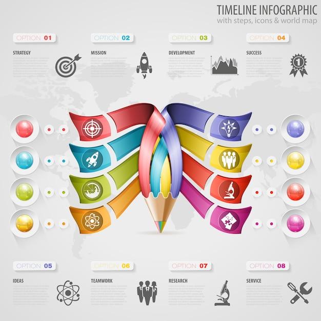 タイムラインのインフォグラフィック Premiumベクター