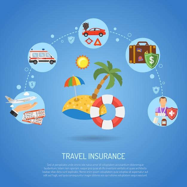 旅行保険のインフォグラフィック Premiumベクター