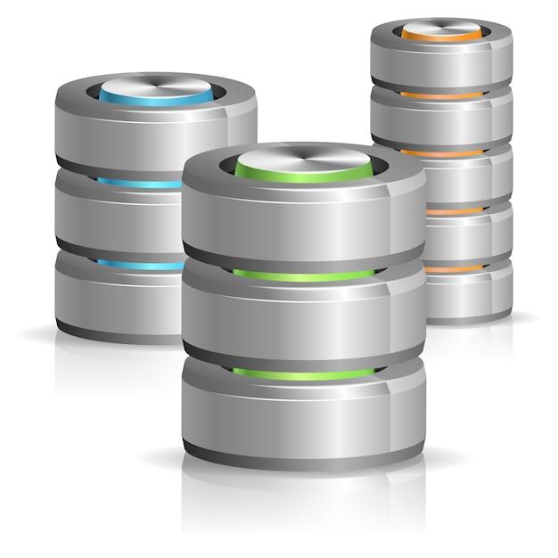 Значок базы данных и жесткого диска Premium векторы