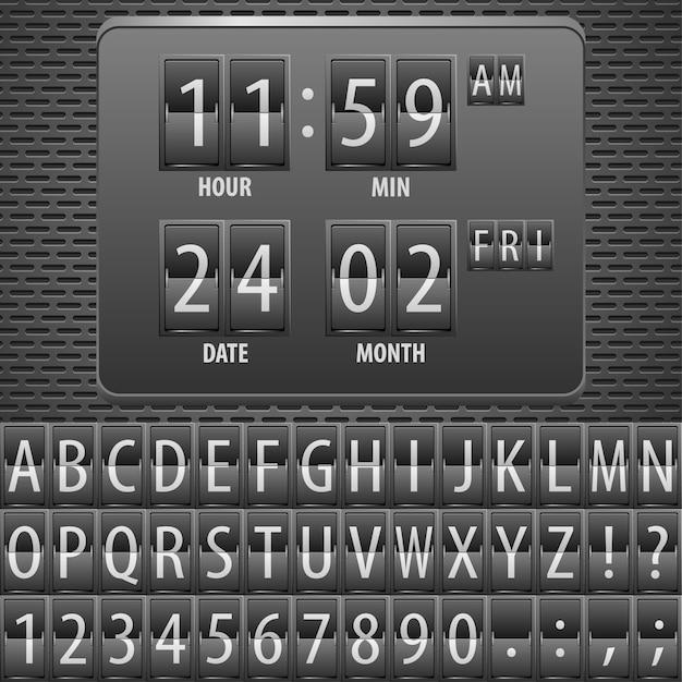 Таймер обратного отсчета на механическом расписании Premium векторы
