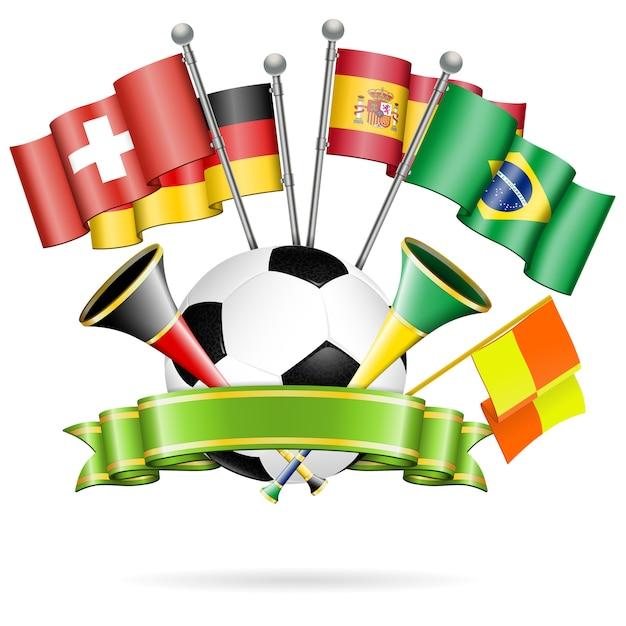 Футбольный мяч с лентой и флагами Premium векторы
