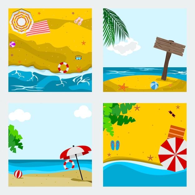 編集可能な夏のビーチのベクトルイラストセット Premiumベクター