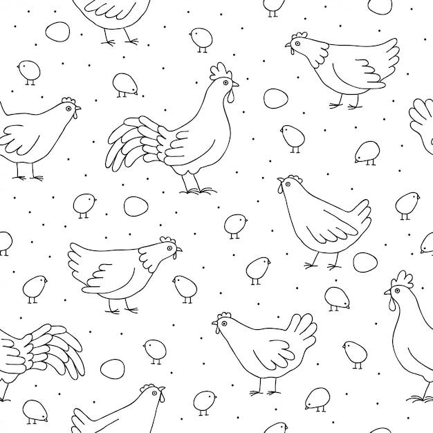 Бесшовный фон с цыплятами, петухами. Premium векторы