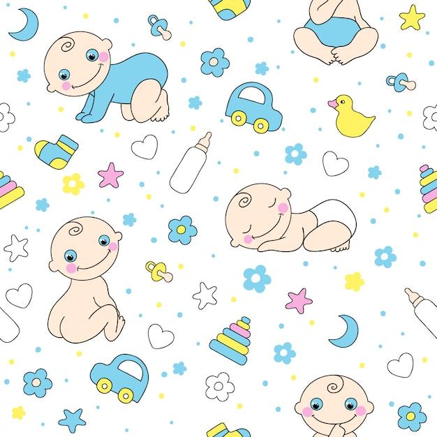 赤ちゃん男の子のためのシームレスなパターン。 Premiumベクター