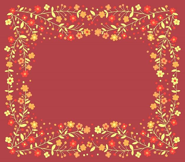 赤の背景に開花枝の美しいフレーム Premiumベクター