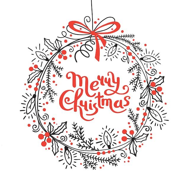 Веселая рождественская открытка. праздничный венок из еловых веток, падуба, гирлянды огней Premium векторы