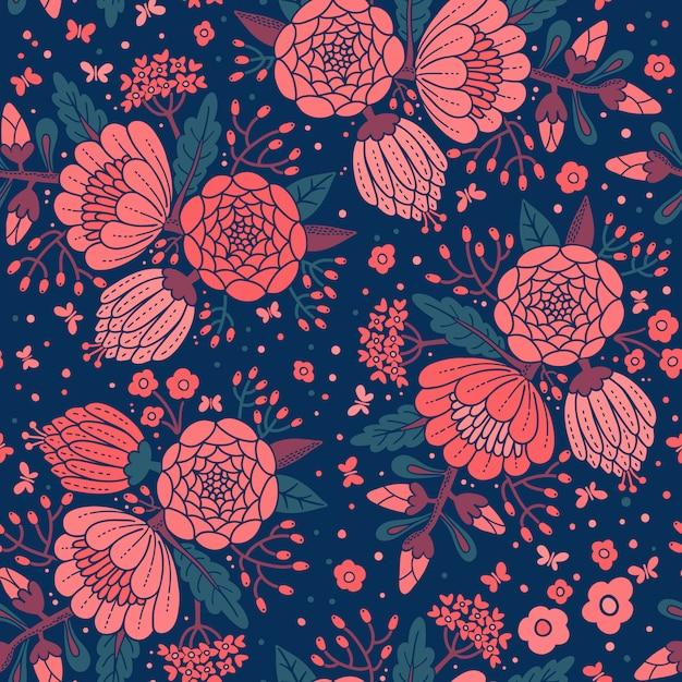 装飾花のシームレスなビンテージパターン。 Premiumベクター