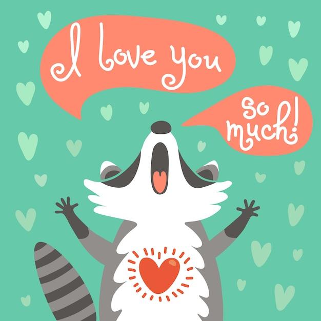 かわいいアライグマは彼の愛を告白します。 Premiumベクター
