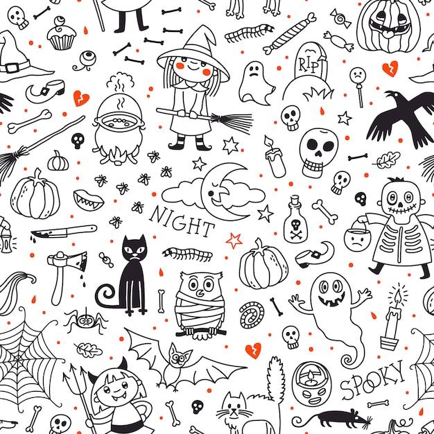 ハロウィーンのシームレスパターン。カボチャ、幽霊、猫、頭蓋骨、コウモリなどのシンボル。 Premiumベクター