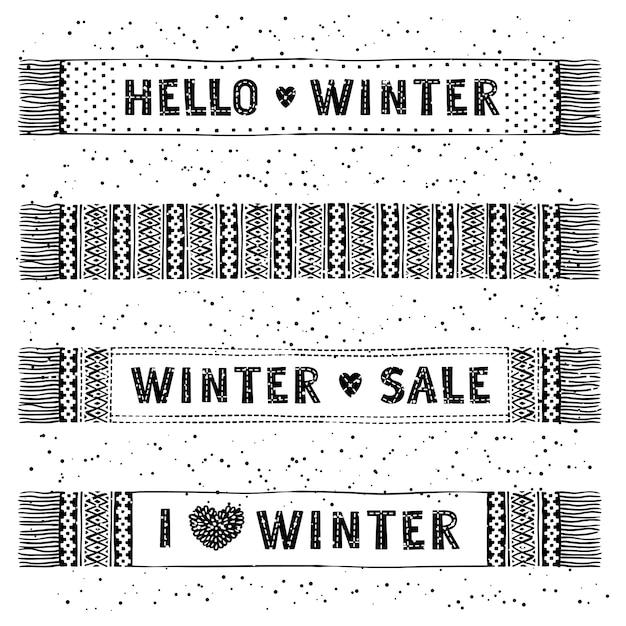 冬の特別なバナーやニットウールのスカーフ付きのラベル。ビジネス季節のショッピングコンセプトセール。 Premiumベクター