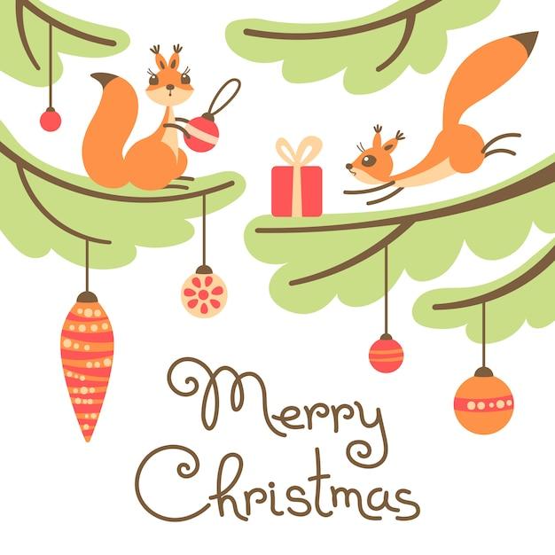 Веселая рождественская открытка. милые маленькие белки с подарком на деревьях. Premium векторы