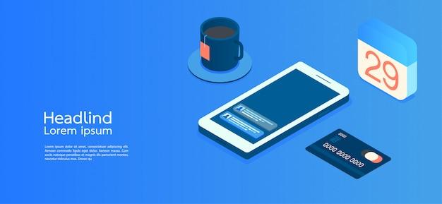 モダンデザイン等尺性概念事業。スマートフォン Premiumベクター