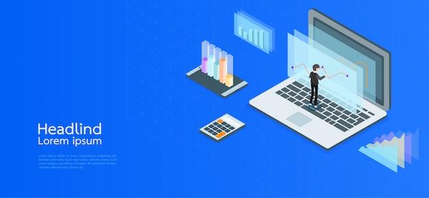 モダンデザイン等尺性概念事業。コンピューター、ラップトップ、スマートフォン Premiumベクター