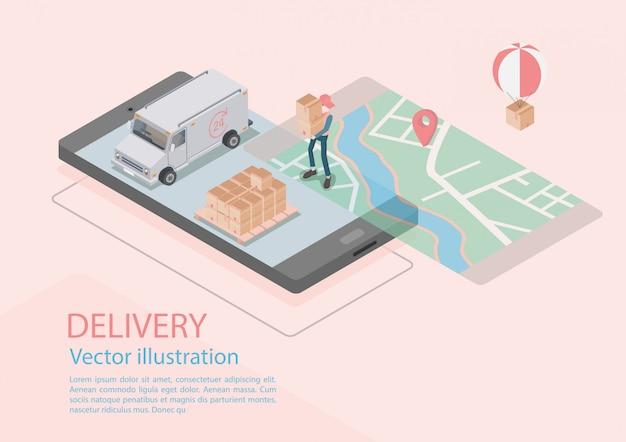 Логистика и доставка инфографика. изометрические, грузовик, дрон и доставщик. векторная иллюстрация Premium векторы