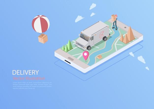 物流と配達のインフォグラフィック。等尺性、トラック、ドローン、配達人。ベクトルイラスト Premiumベクター