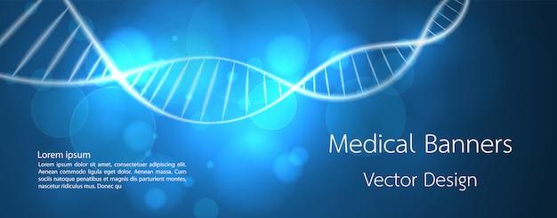 Баннер медицинская днк и технологический фон Premium векторы