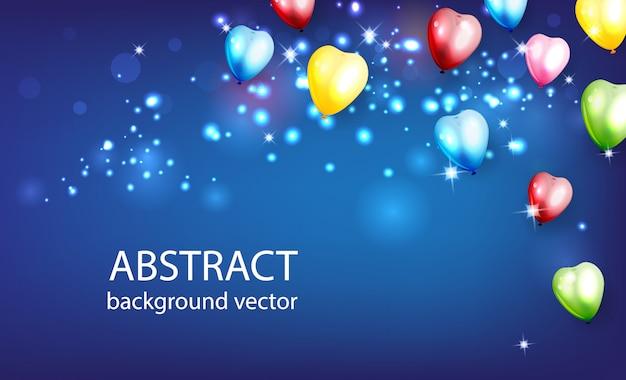 輝くカラフルな風船と抽象的な背景。ピンぼけ要素ベクトルイラスト Premiumベクター