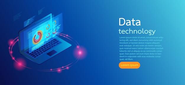 青い背景上のコンピューター画面現代のインフォグラフィック。 Premiumベクター