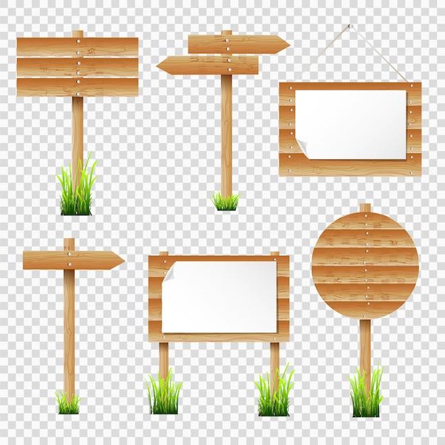 木製の掲示板や草の道標 Premiumベクター