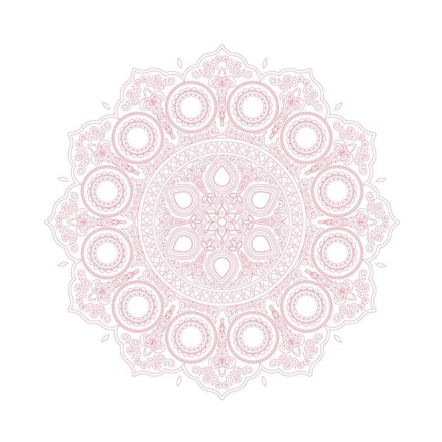 Нежный розовый кружевной узор в стиле бохо Premium векторы
