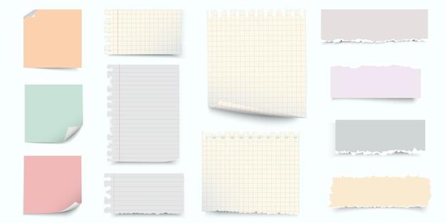 Цветная бумага для заметок и кусочки разорванной бумаги Premium векторы