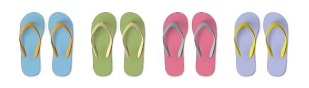 色付きフリップフロップ - 夏、ビーチスリッパのセット Premiumベクター