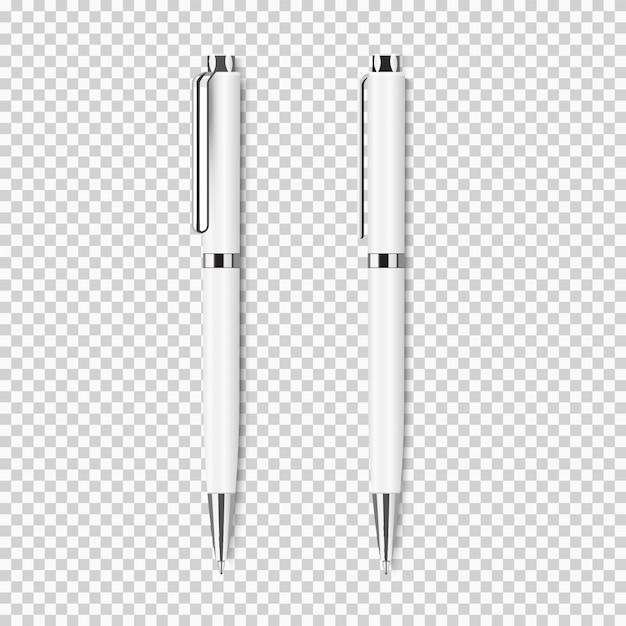 Два белых реалистичных пера на прозрачном Premium векторы