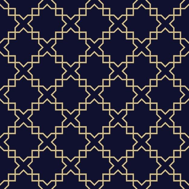 抽象的なアラビアのシームレスパターン、ダークブルーとゴールドのテクスチャ Premiumベクター