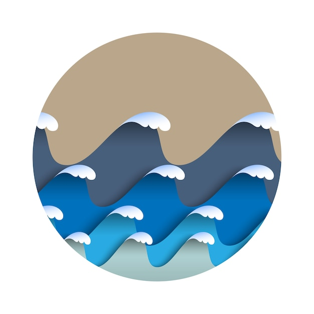 和風の海の泡と折り紙の紙の波 Premiumベクター